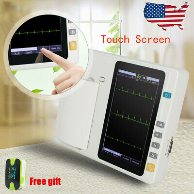 Portable 3-channel 12 Lead Digital Electrocardiograph Ecg Ekg Touch Hospital Us