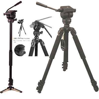 Professional 67-inch Video Camera Tripod & Monopod with Fluid Drag Head