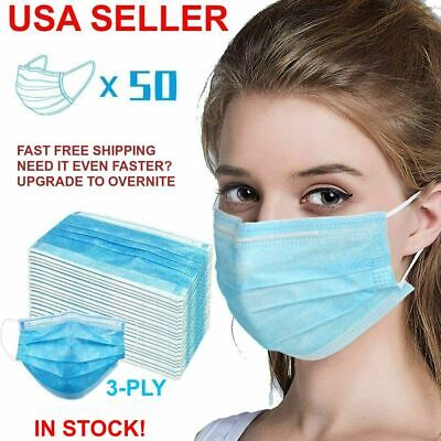 50 Pcs Box Disposable Face Mask 3-ply Medical Surgical Mouth Cover Respirator