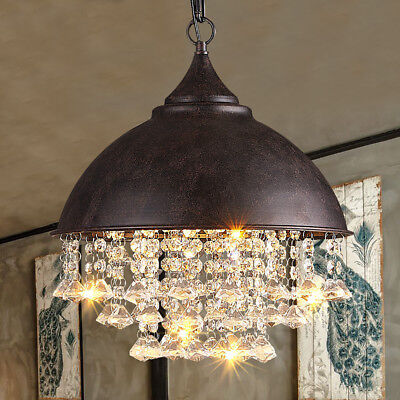 Wrought Iron Crystal Pendant Light Chandelier Ceiling Lamp Living Dining Room
