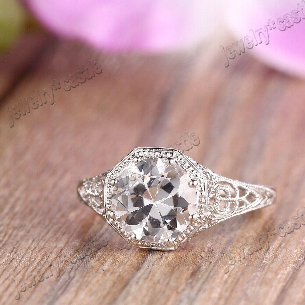Sale White Topaz Round 8mm 18K White Gold Engagement Wedding Fine ...