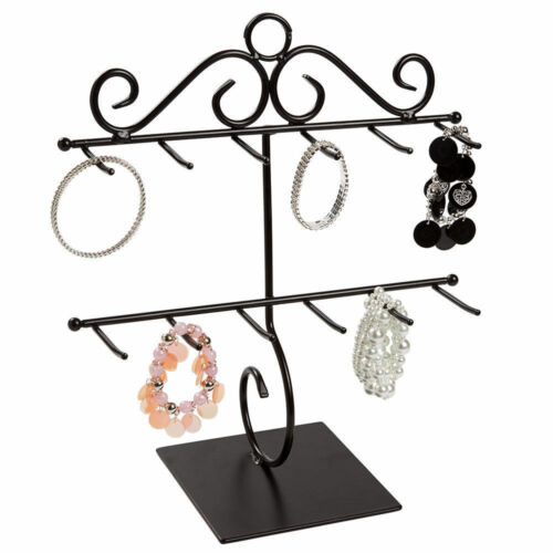 "2 Bracelet Displays Countertop Two Tiered Black Metal 12 ¾"" x 14 ¼""  Showcase"