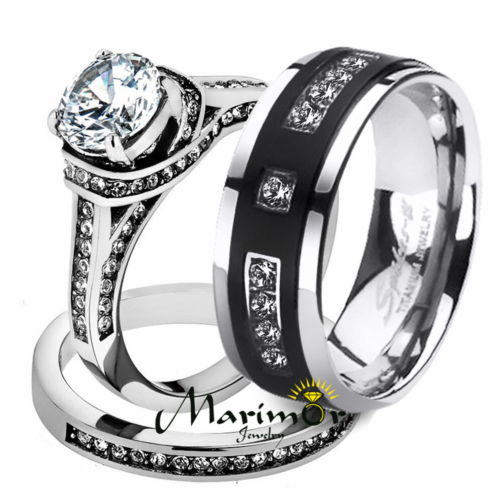 Her His 3pc Stainless Steel Wedding Engagement Ring & Tit...