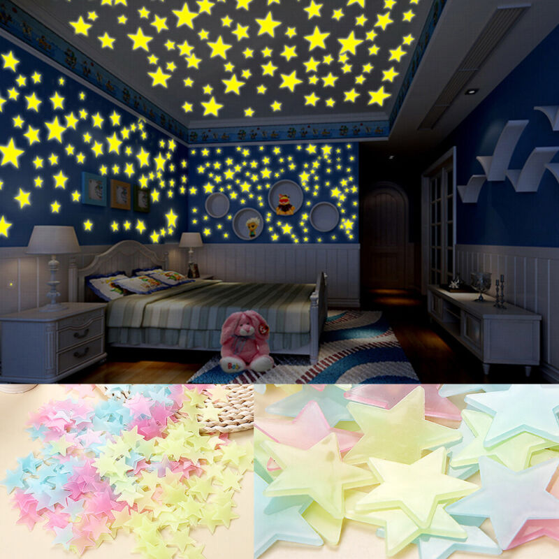 Home Decoration - 100 X Nice Wall Glow In The Dark Stars Stickers Kids Bedroom Nursery Room Décor