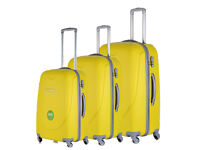 New Yellow 4 Wheel Luggage Suitcase Trolley Holiday Travel Bag Case 3 Piece Set Hard Shell Suitcases