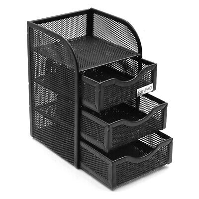 Mesh Desk Organizer Office Accessories Caddy With 3 Drawer 1 Top Shelf Black