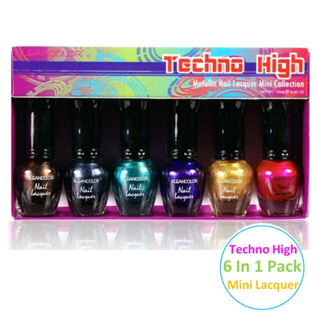 KleanColor 6 Pc. Mini Metallic Nail Lacquer Polish Collection Techno ...
