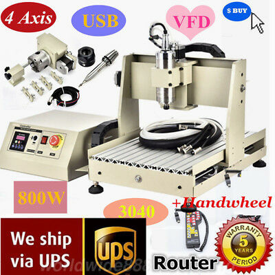 Cnc Router 4axis 3040 Engraver 3d Wood Engraving Milling Machine Usb 800wrc