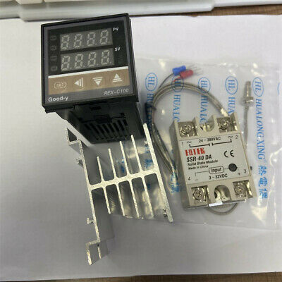 Digital Pid Temperature Controller 100-240vac 40a Ssr K Thermocouple Sensor