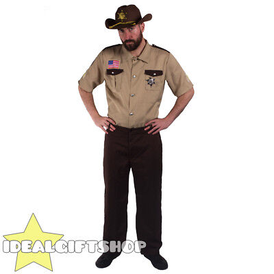 SHERIFF ZOMBIE HUNTER MENS U.S COP FANCY DRESS COSTUME USA POLICE MAN STAG HEN