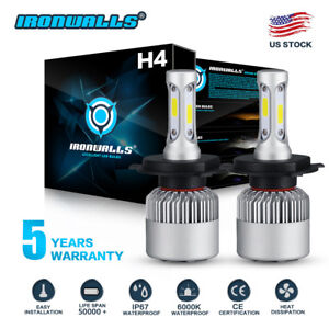 CREE COB H4 HB2 9003 1500W 225000LM LED Headlights Kit Hi/Lo Power Bulbs 6000K