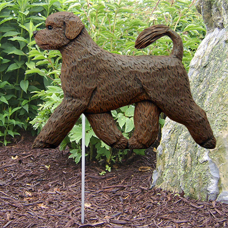 Portuguese Water Dog Outdoor Garden Sign Hand Painted Figure Brown