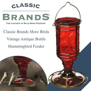 New  Classic Brands More Birds Vintage Antique Bottle Hummingbird Feeder Condition: New , 23 oz. Nectar Capacity, Jew...