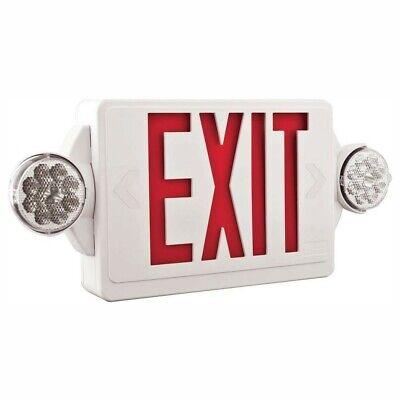 New Lithonia Lighting 2-light Plastic Led White Exit Signemergency Combo