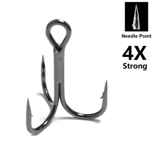 4X Strong 30 Hooks for Each Pack Black Nickle Needle Point Treble Hooks FH87HP30