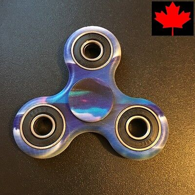 "Fidget Tri Spinner EDC Stress Relief Focus Fun Toy - ""Blue Sunset"""