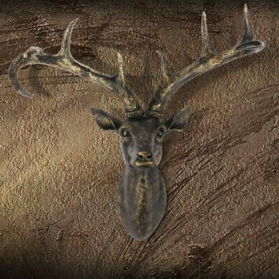 Christmas Reindeer Head Wall Sculpture Decoration Resin Stag Vintage Retro Deer