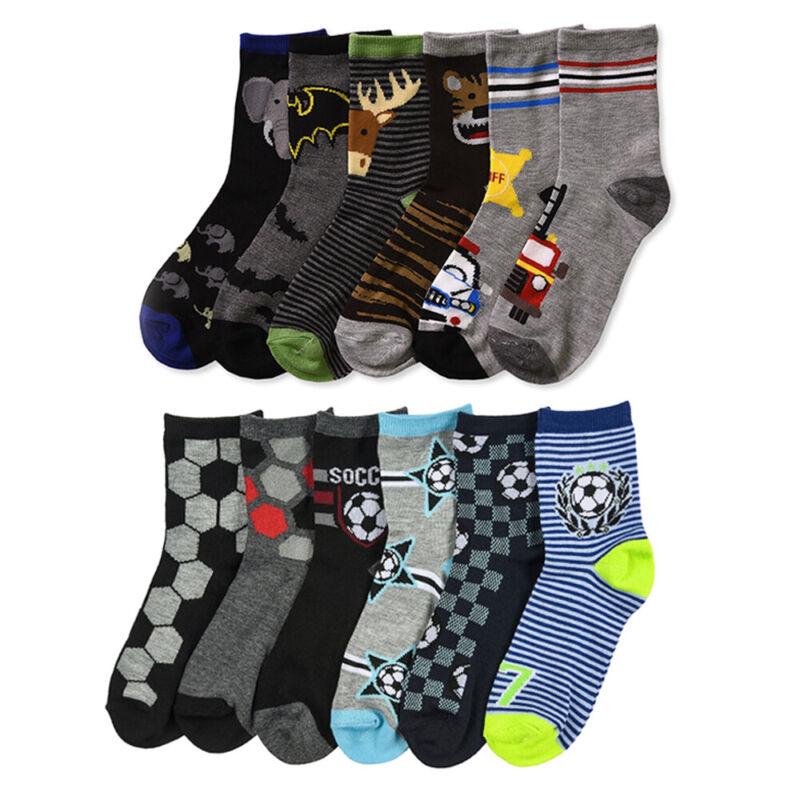 6 Pair Boys Crew Socks Kids Shoe Size 4-6 Years Cartoon Patterned Design School