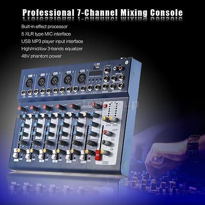 ammoon F7-USB 7-Channel Digital Mic Line Audio Sound Mixer Mixing Console Blue