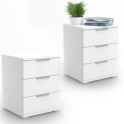 Nachtschrank Kommode Nachttisch Schublade Ablage 2-er Set Schlafzimmer Weiß