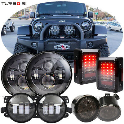 2007 2017 Jeep Wrangler JK 7 LED Headlight Fog Light Turn Tail Lights Combo Kit