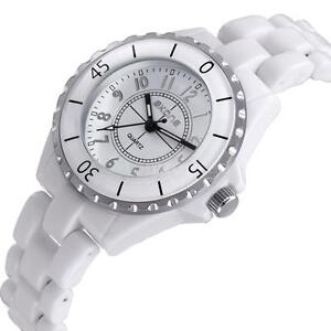 SKONE Women Ladies Analog Quartz Watch White Ceramic Band Strap Wristwatch Y6Y8