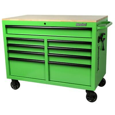 46 in. W x 24.5 in. D 9-Drawer Tool Chest Mobile Workbench with Solid Wood Top Chest Wood Top