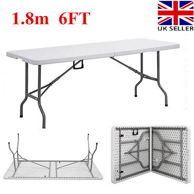 1.8m 6FT Heavy Duty Folding Catering Camping Table Trestle Party Picnic BBQ