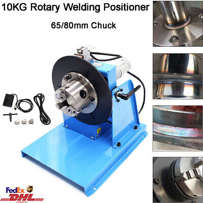 10kg Rotary Welding Positioner 0-90 Weld Turntable Table 65mm 80mm 3 Jaw Chuck