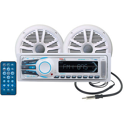 Boss Audio Boot Marine Stereo Paket Empfänger (2) Lautsprecher & Antenne Marine Audio Boot