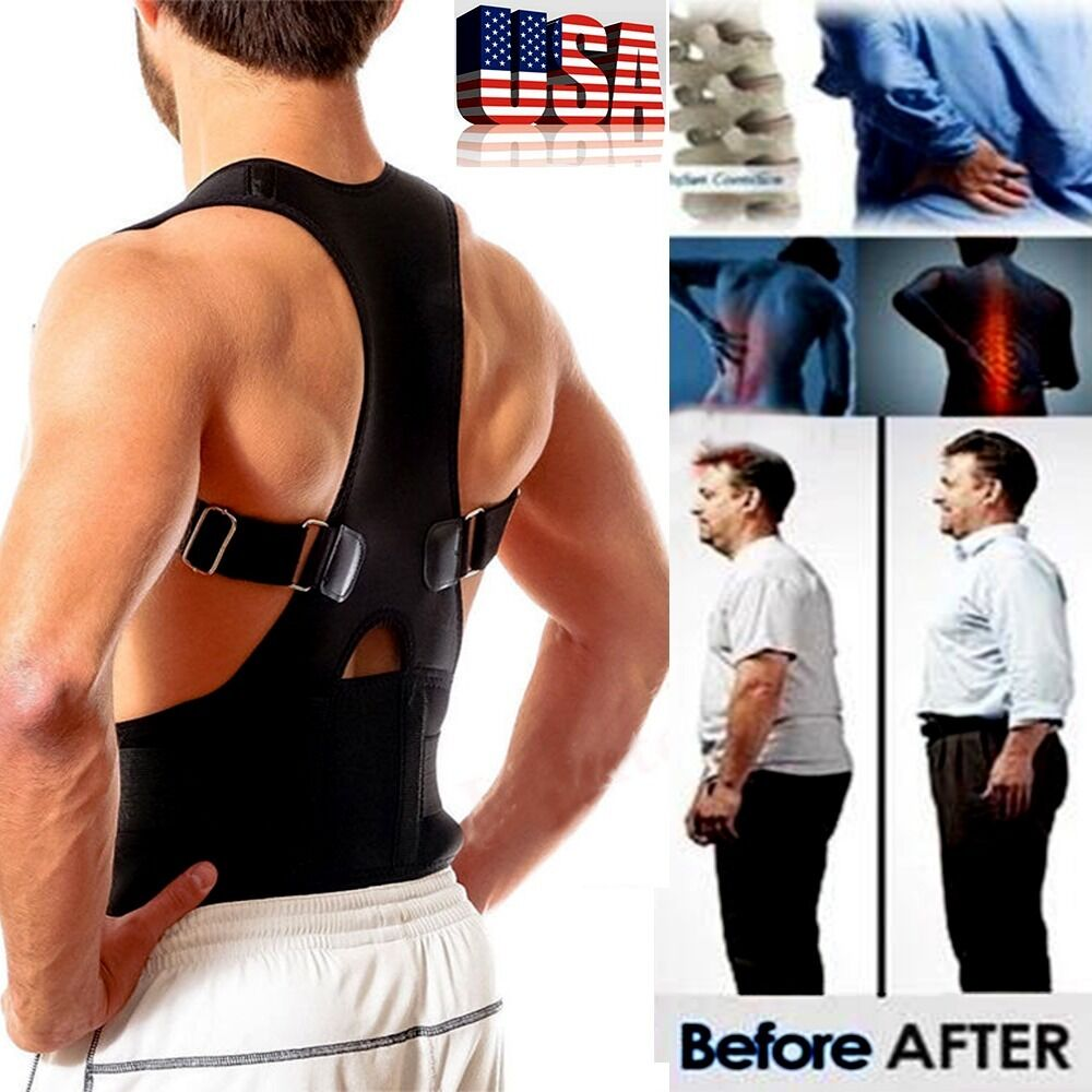 US Posture Corrector Support Magnetic Back Shoulder Brace Belt For Men Women SFC
