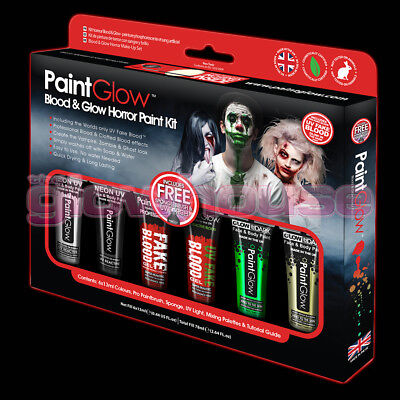 Halloween Make Up Kit Face Paint Zombie Ghost Clown Blood Glow In The Dark UV ()
