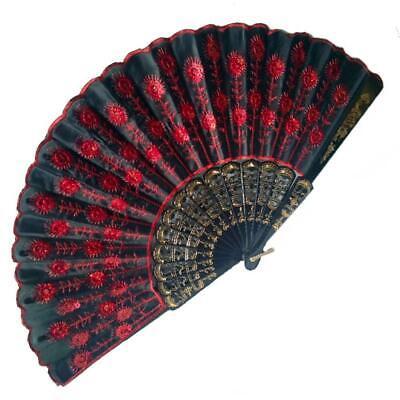 Abanico de Mano Abanico Decoración Bolsillo Abanico Decorativo Rojo Negro