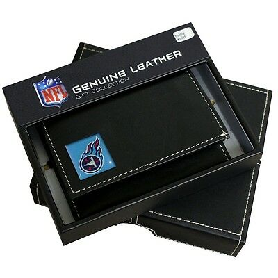 Tennessee Titans Genuine Leather Tri-Fold Wallet Black NFL Football Licensed B