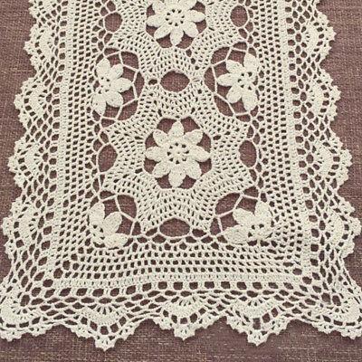 Hand Crochet Floral Table Runner Beige/Ecru Vintage Flower Lace Doily 15X60inch