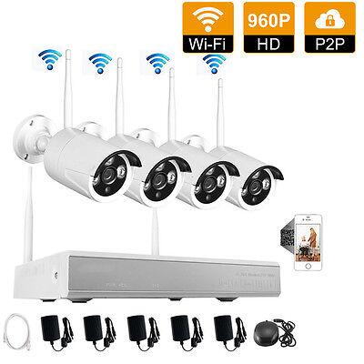 4CH NVR Kit 1.3MP 960P Wireless IP CCTV WIFI Surveillance Security Camera System