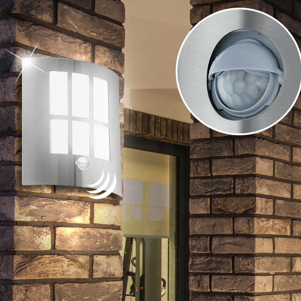 LED Außen-Lampe Wand Edelstahl Aussenleuchte mit Bewegungsmelder Sensor Hoflampe