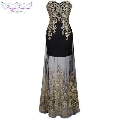Angel-fashions Women Embroidery See Through Masquerade Evening Dress 189 Black (Black Masquerade Dresses)