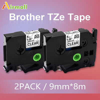 2PK TZe-121 TZ-121 Replace Brother P-Touch Label Maker Tape 9mm Clear TZ Tape