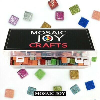 Mosaic Tiles For Crafts (Mosaic Tiles for DIY Crafts 430 Pcs Assorted Color Square Glitter Glass)