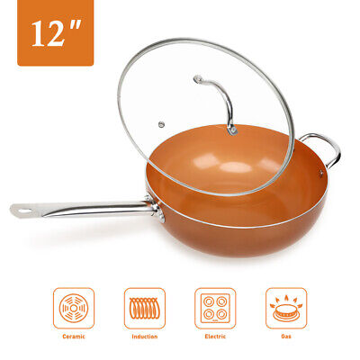 Wok 12' Nonstick Copper Round Saute Pan with Lid for Frying Baking (Copper Oven Safe Saute Pan)