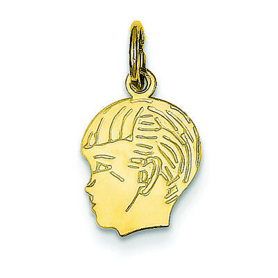 - 14K Yellow Gold .013 Gauge Boy Head Charm Pendant MSRP $106