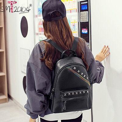 2016Women Girls Satchel Leather Backpack Rucksack Shoulder School Laptop Bag ts