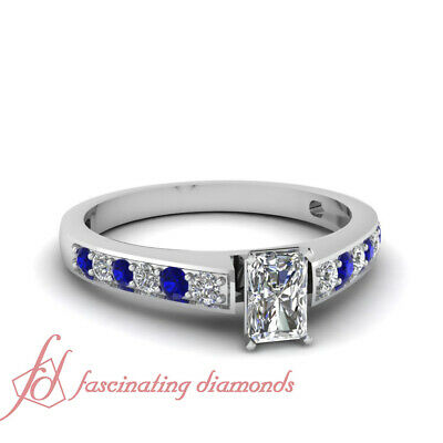 .70 Ct Radiant Cut F-Color Diamond & Round Blue Sapphire 14K Engagement Ring GIA