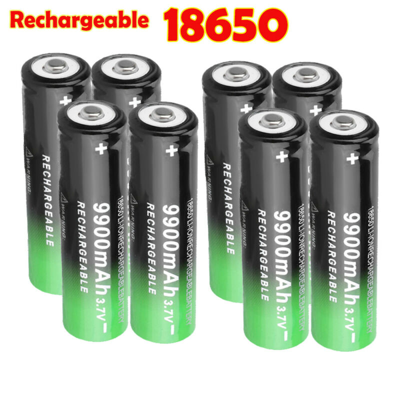 8 Pack 3.7V Rechargeable Batteries Li-ion Battery Cell For Flashlight Headlamp