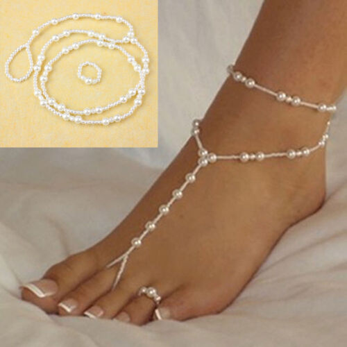 Women Pearl Barefoot Sandal Anklet Foot Chain Toe Ring Beach Ankle Bracelet Set Anklets