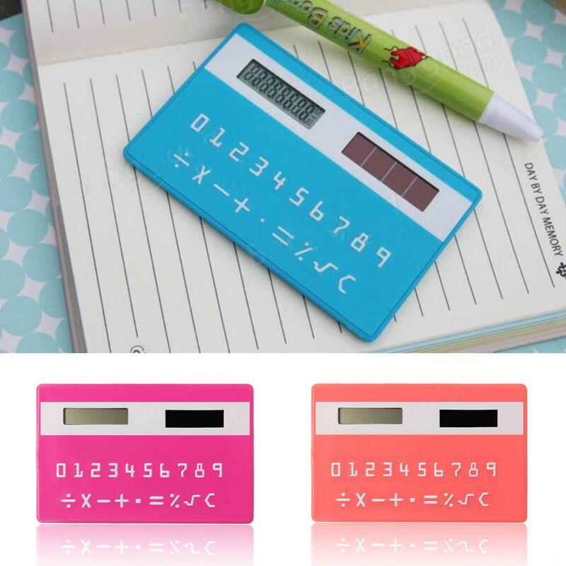 Ultra Thin Solar Energy Power Slim Card Pocket Wallet Calculator 8 Digits Useful