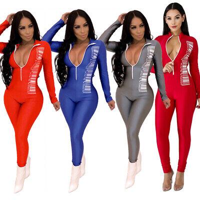NEW Women Barcode Print Zipper Long Sleeve Bodycon Club Cocktail Sport Jumpsuit