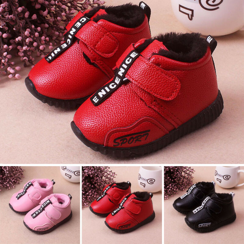 PU Baby Infant Toddler Girls Boys Boots Warm Sport Shoes Sno