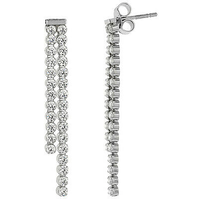 Sterling Silver 2.4 mm Cubic Zirconia Stones Double-strand Dangle Earrings Cubic Zirconia Strand Earrings